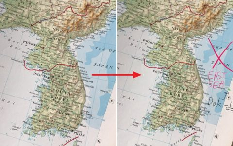 '일본해' 잘못 표기된 세계지도에 '동해'로 바로잡은 할리우드 배우
